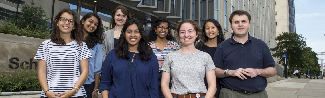 Pictured is the incoming PSTP MS1 class of 2018, from left-to-right: Stephanie Casillo, Vaidehi Patel, Olivia Parks, Neha Hafeez, Anjana Murali, Catherine Pressimone, Breanna Nguyen, and Blair Douglass (PSTP Program Administrator)